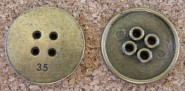 Bouton de bronze, diamètre de 22mm, Emballage de 3 pour 3.75$