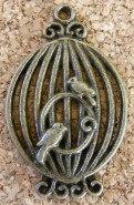 Cage d'oiseaux bronze, 33x20mm